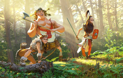 Sclavenian warriors by Andrei-Pervukhin