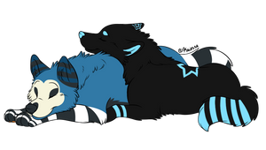 Hax and Zuel cuddle, borrowed lineart. by Haxzure
