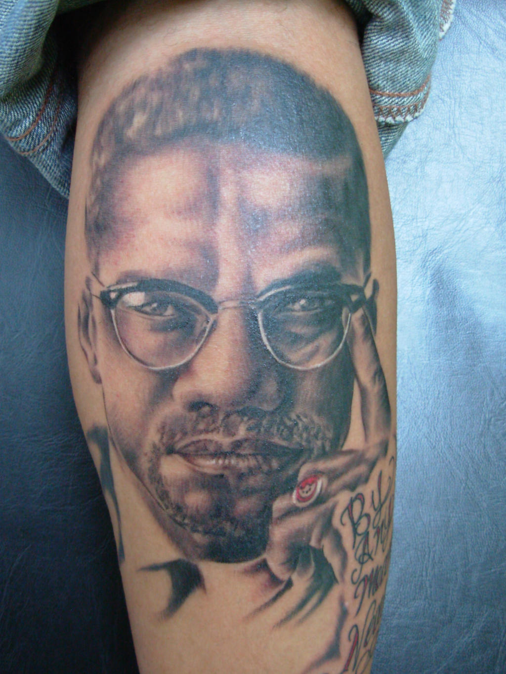 Malcom x portrait tattoo by his highness on deviantart for Nas malcolm x tattoo