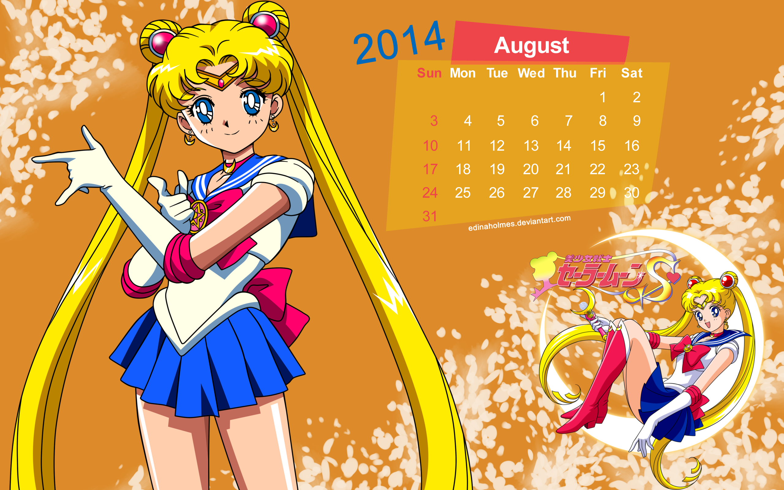 Calendar Wallpaper - August 2014 - Sailor Moon by edinaholmes