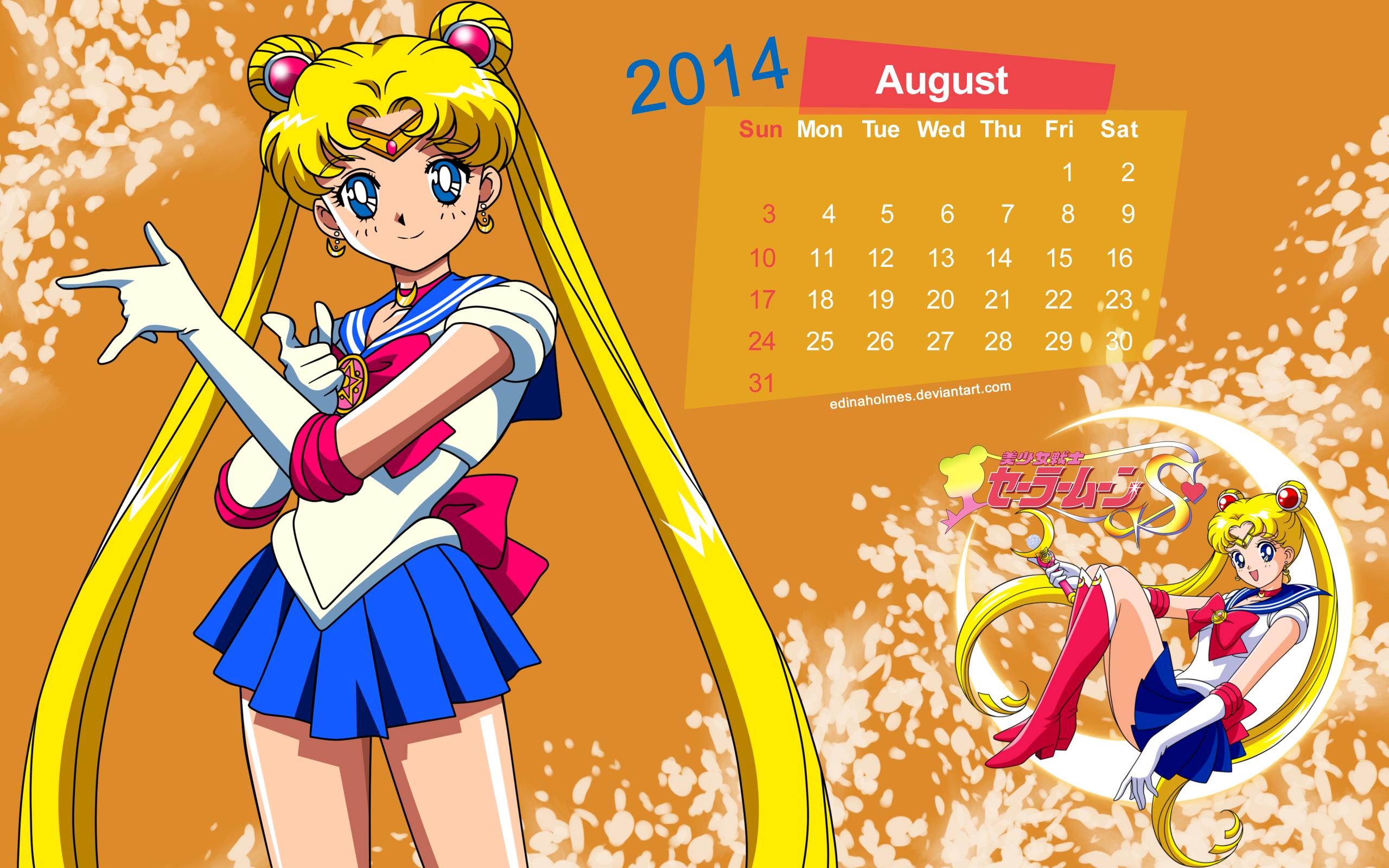 Calendar Wallpaper - August 2014 - Sailor Moon by edinaholmes