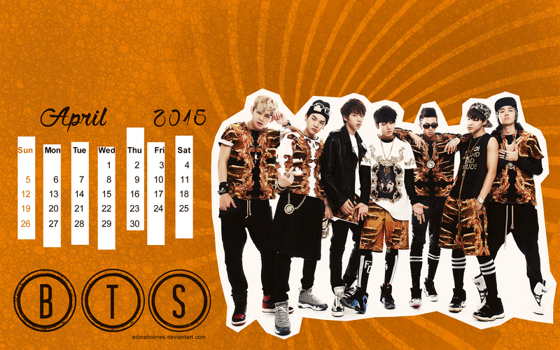 Calendar Wallpaper  April 2015  BTS by edinaholmes on DeviantArt