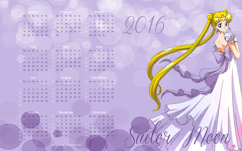 Yearly Calendar Wallpaper 2016 - Sailor Moon by edinaholmes on ...