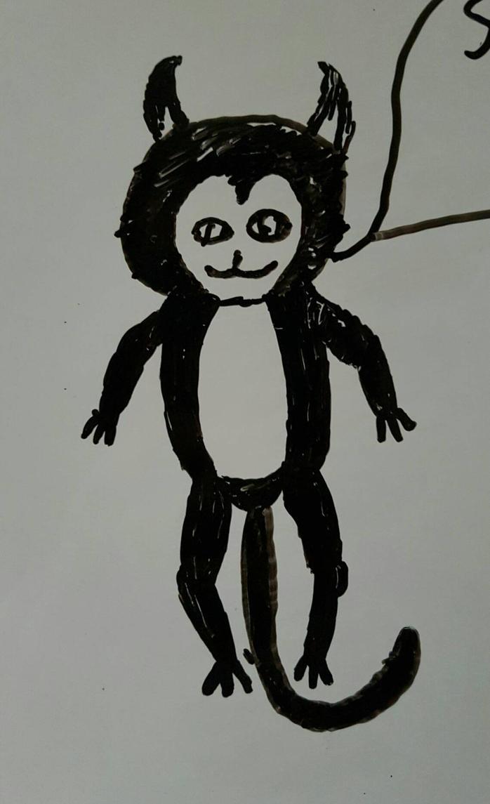 Devil monkey on whiteboard by dante-demonhunter