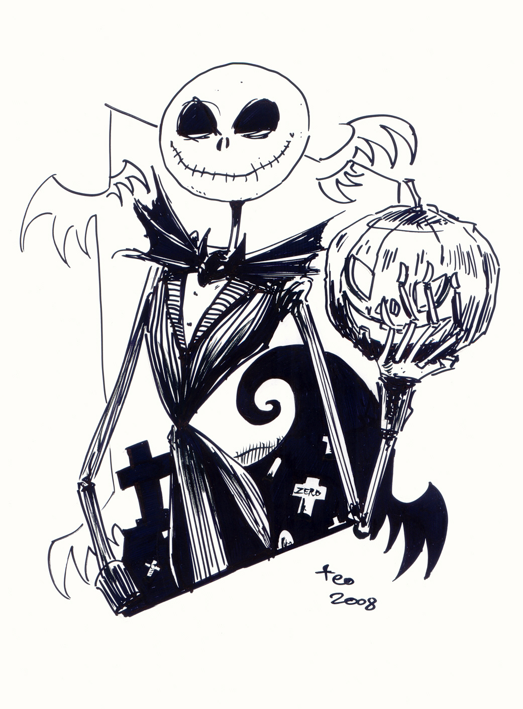 Jack Skellington Coloring Pages on tdk coloring pages
