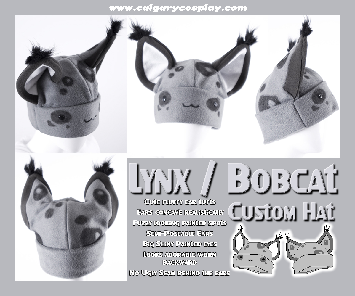 Grey Bobcat Lynx Hat by calgarycosplay