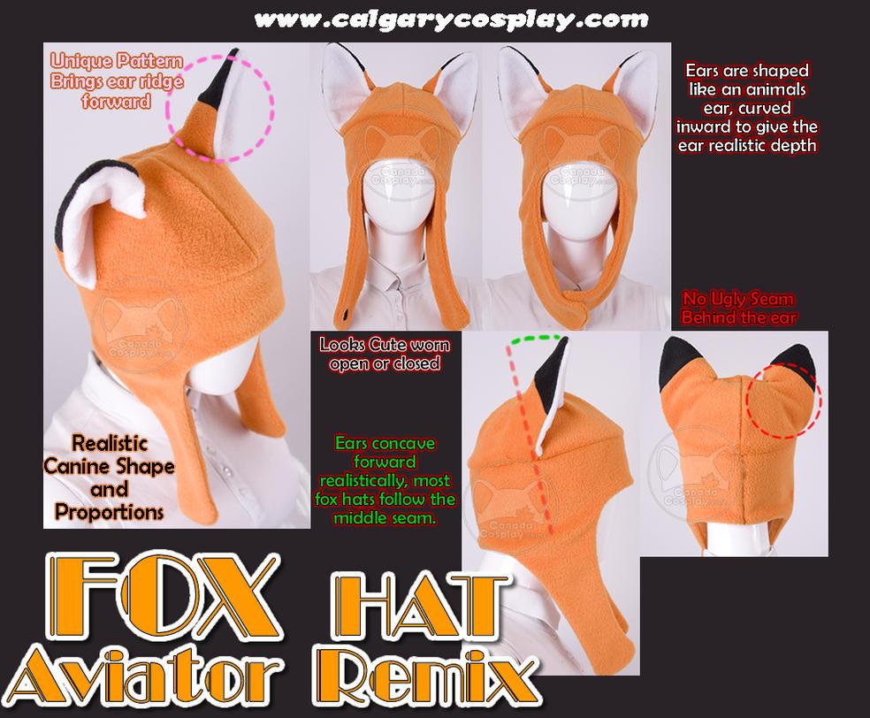 Fleece Aviator Fox Ear Hat by calgarycosplay