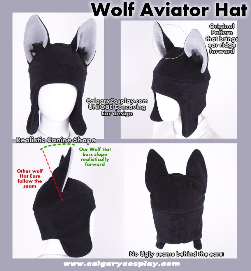 Cosplay Aviator Wolf Ear Hat by KayPikeFashion