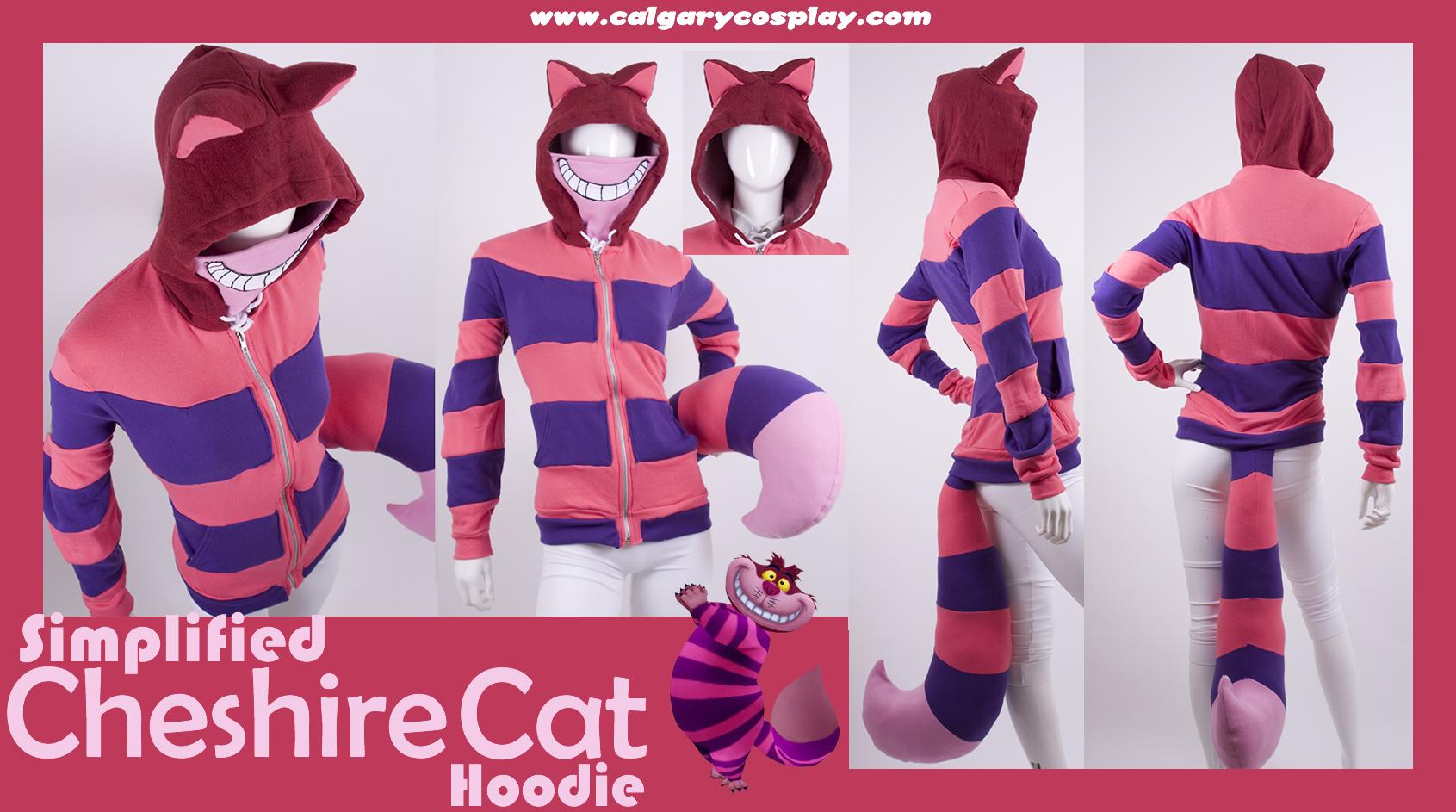 Guiping Pink Cheshire Cat Graphic Logo Teen Hooded Sweate Sweatshirt Black