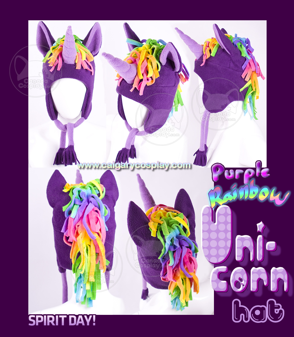 Spirit Day Purple Unicorn Hat by calgarycosplay