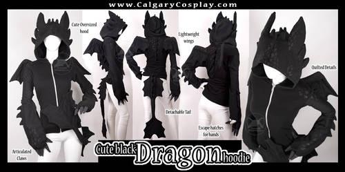 Cute Black Dragon Hoodie by KayPikeFashion