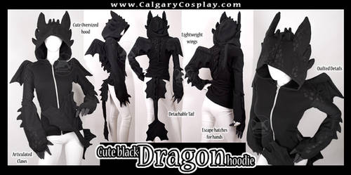 Cute Black Dragon Hoodie by KayPikeFashion