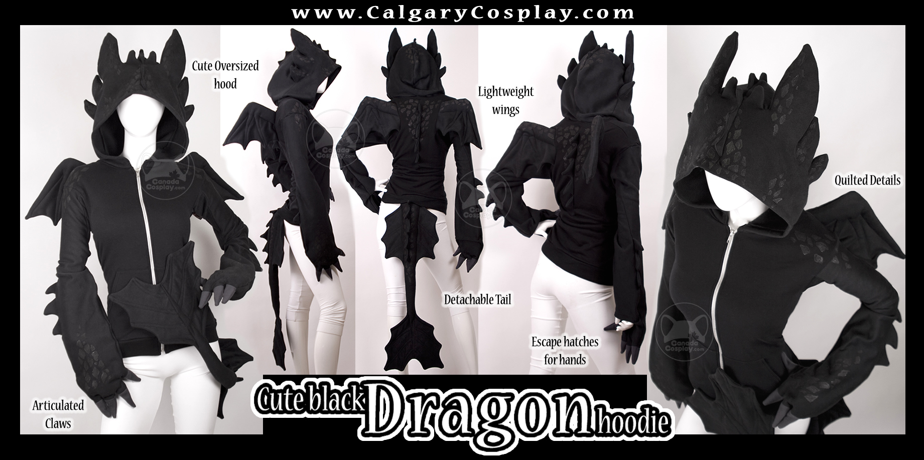 Cute Black Dragon Hoodie by calgarycosplay