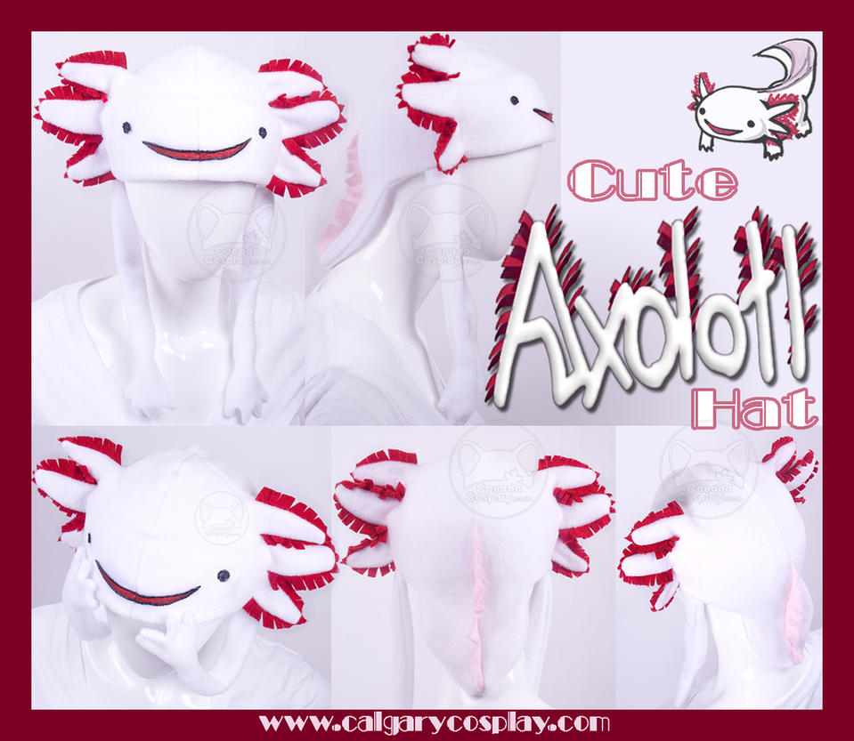 Cute Albino Axolotl Hat by calgarycosplay