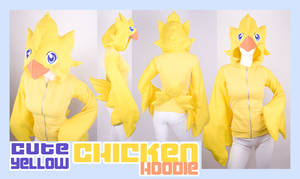 Cute Yellow Chicken Hoodie by KayPikeFashion