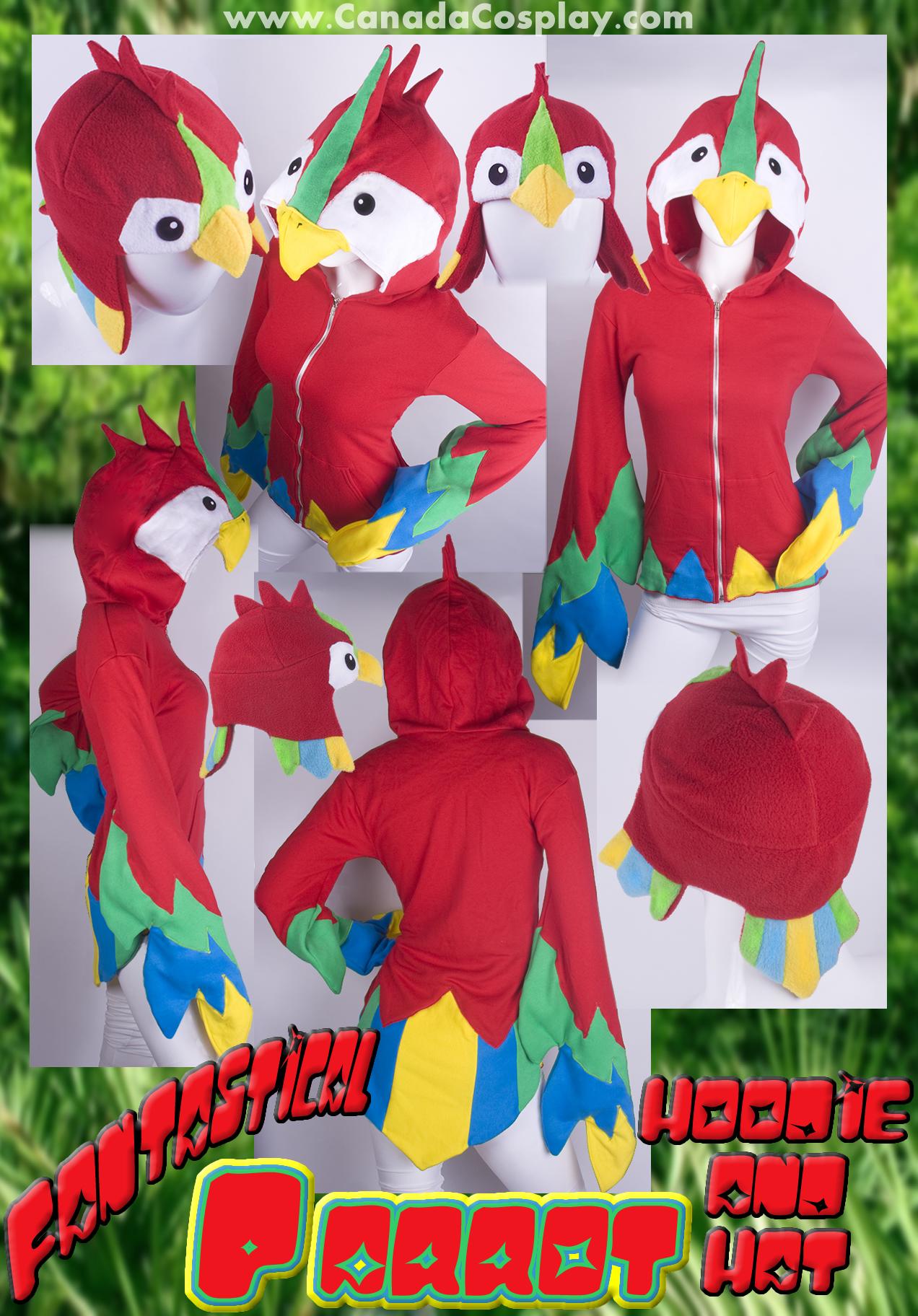 Fantastic Parrot Hoodie n Hat by calgarycosplay