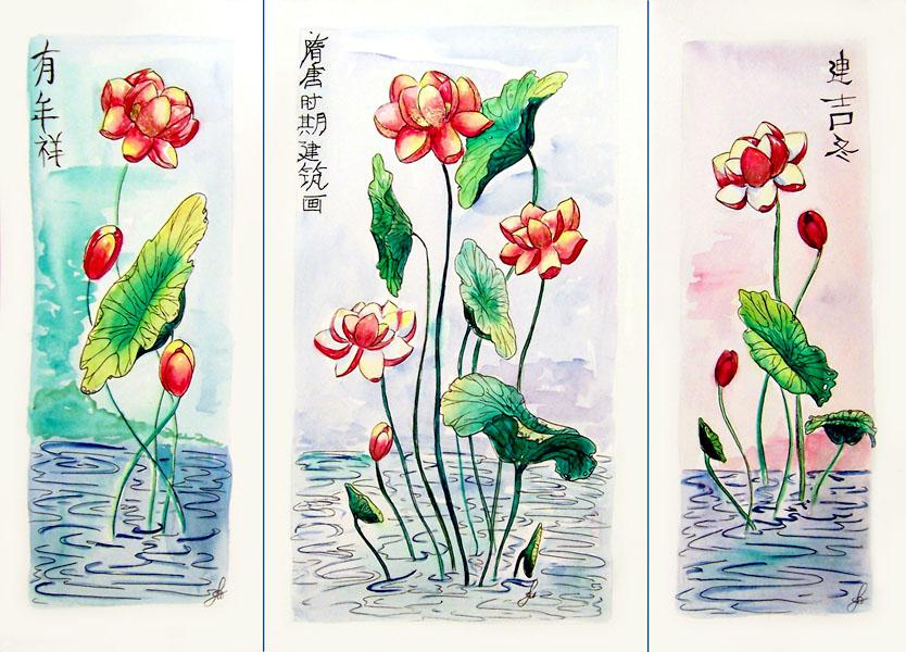 Lotus triptych by Miriele