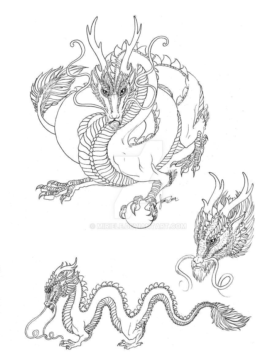 Chinese dragon line art by Miriele on DeviantArt
