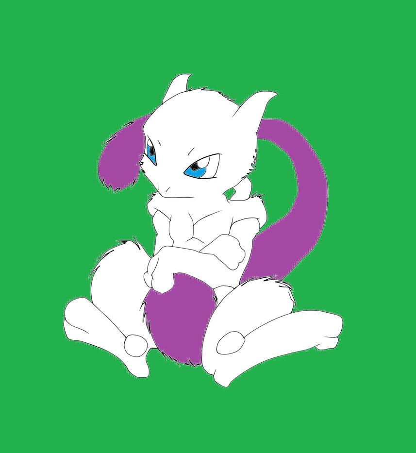 Pokemon - Fuzzy mewtwo by redeyeswolfman