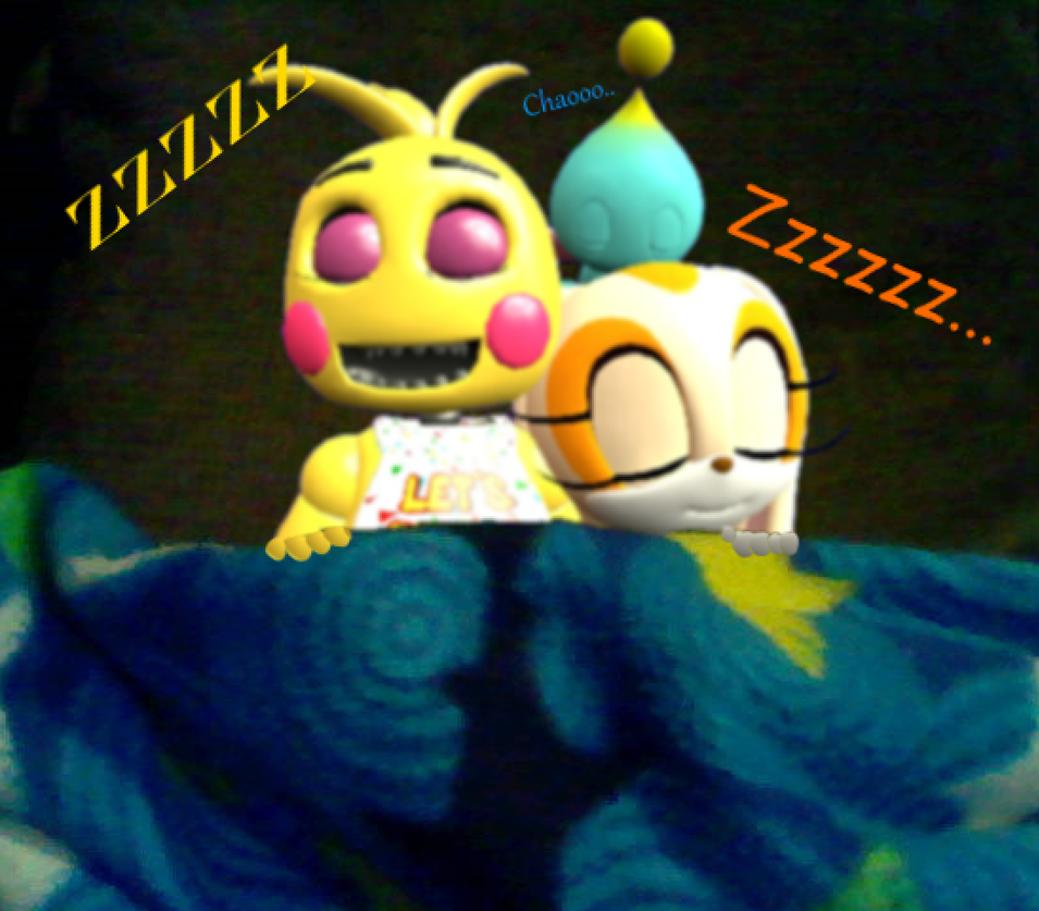 Toy Chica, Cream, and Cheese Sleeping by Toad900