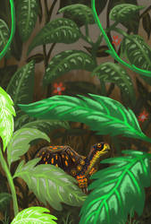 Turtle in Leaves by Pseudogiant