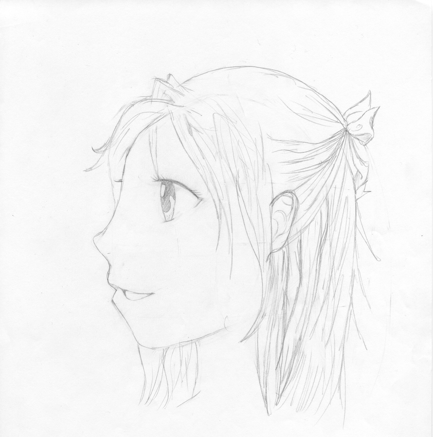 Anime girl side view by silver2000280