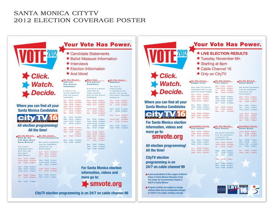 Santa Monica CityTV 2012 Election Coverage Poster by albiemo