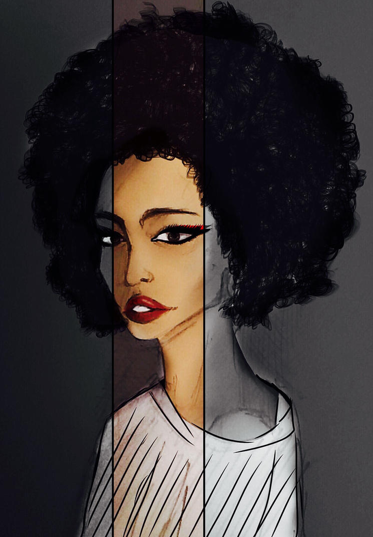 Black afro and red lips by shikisaru