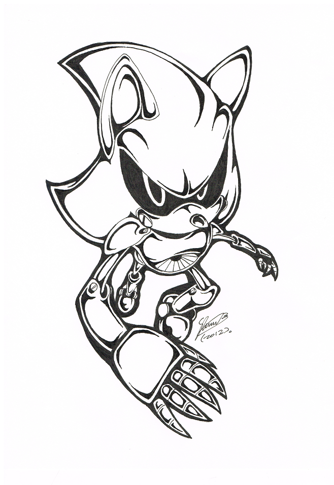 metal sonic coloring pages - bw metal sonic by f sonic on deviantart