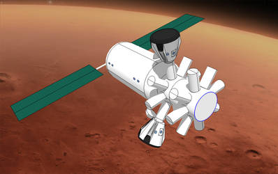 Mars colonial orbiter by Michel-Lamontagne
