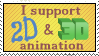 2D+3D Animation Support Stamp