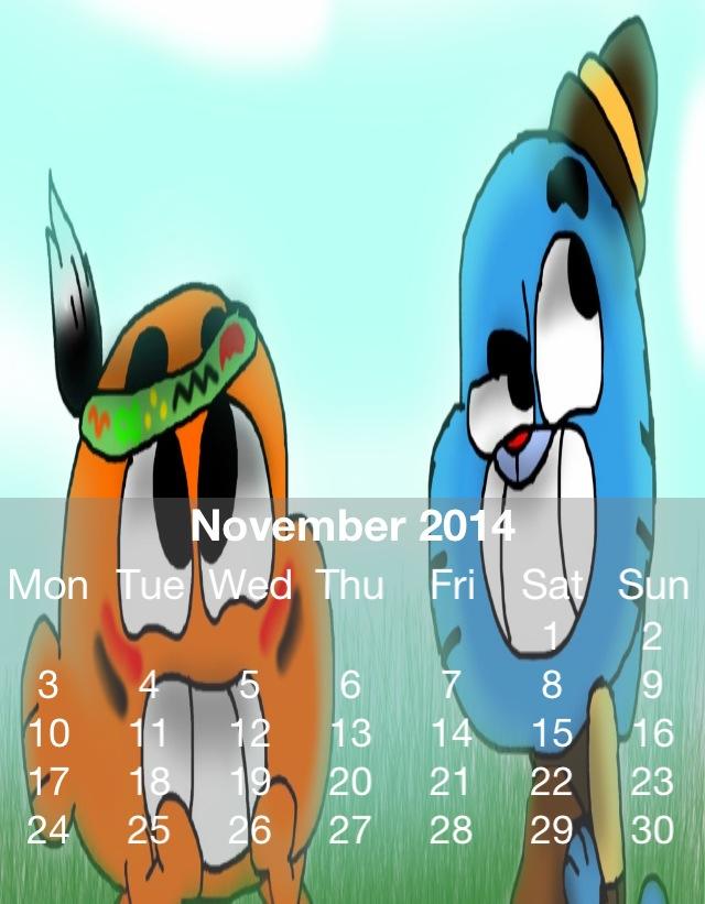 Gumball Calander 2014 November by HitmonchanMan