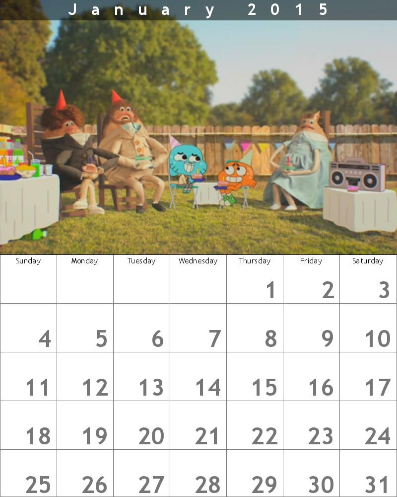 Gumball Calendar 2015 January by HitmonchanMan