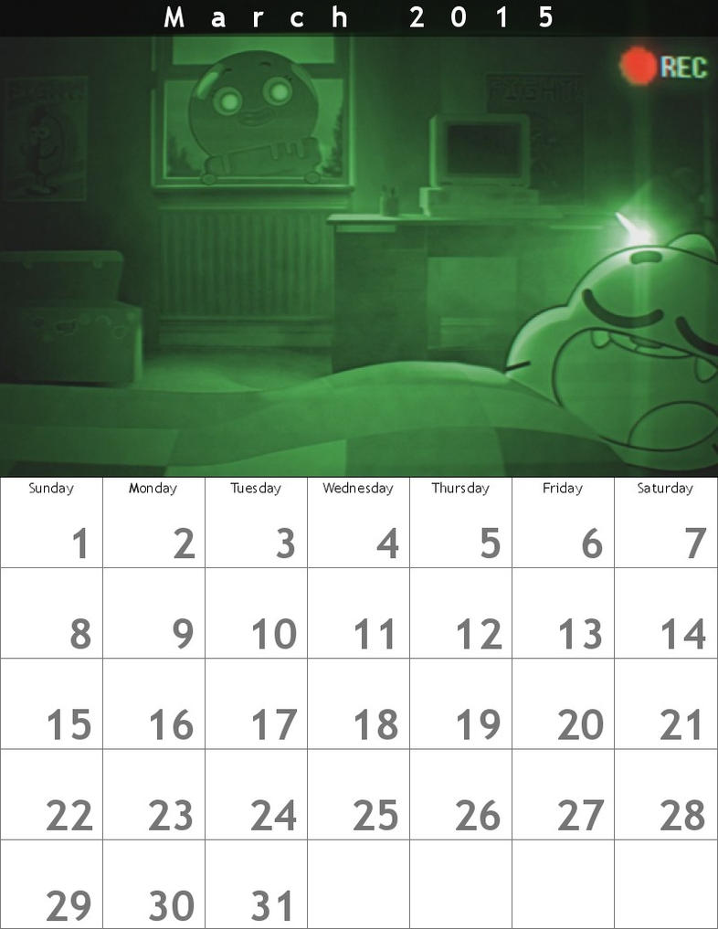 Gumball Calendar 2015 March by HitmonchanMan