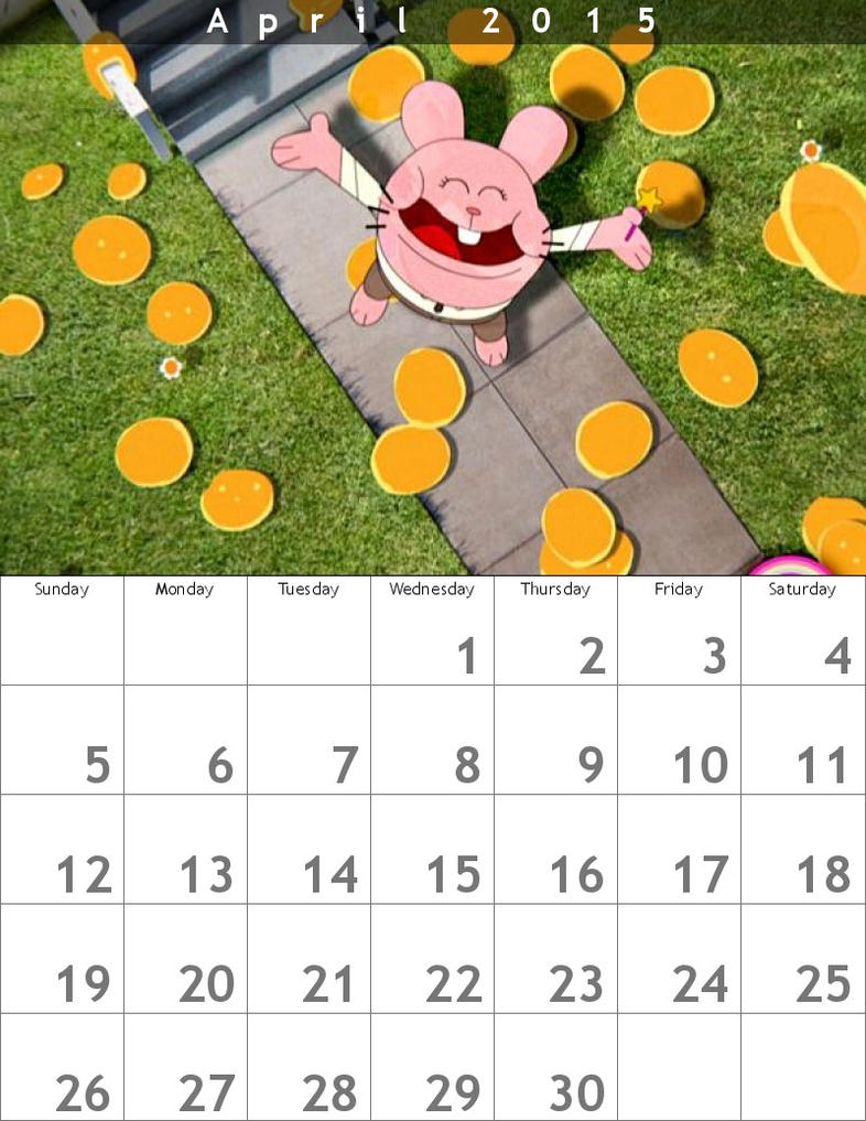 Gumball Calendar 2015 April by HitmonchanMan