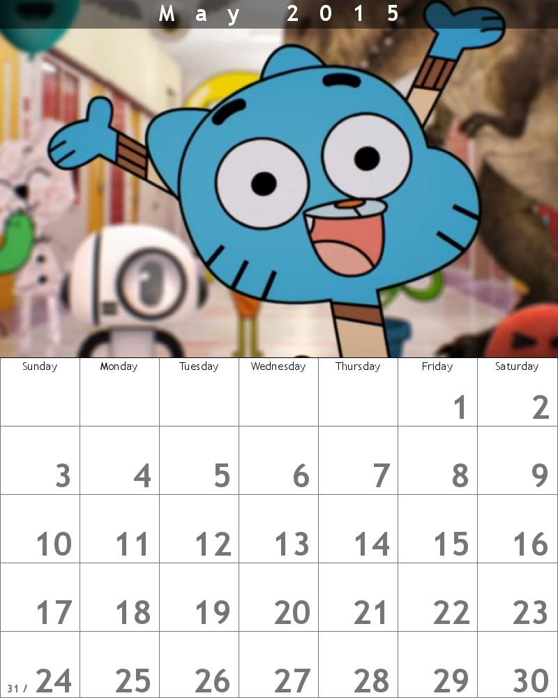Gumball Calendar 2015 May by HitmonchanMan