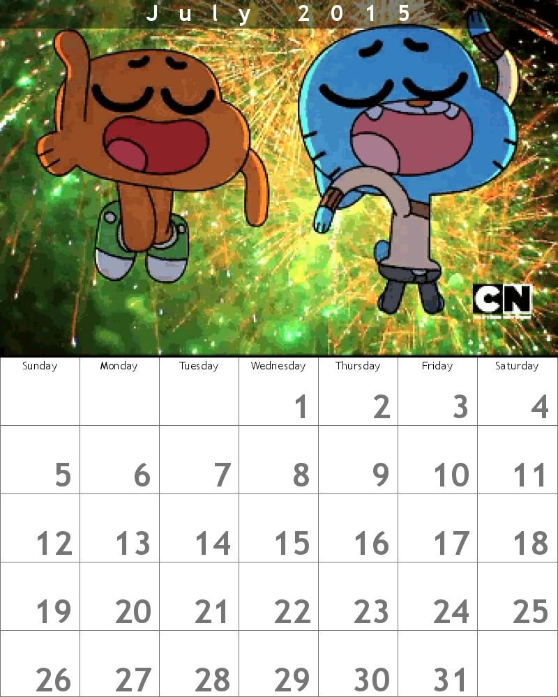Gumball Calendar 2015 July by HitmonchanMan