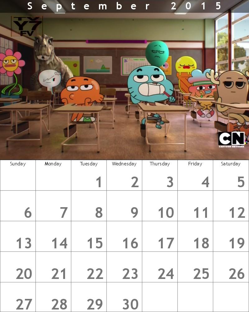 Gumball Calendar 2015 September by HitmonchanMan