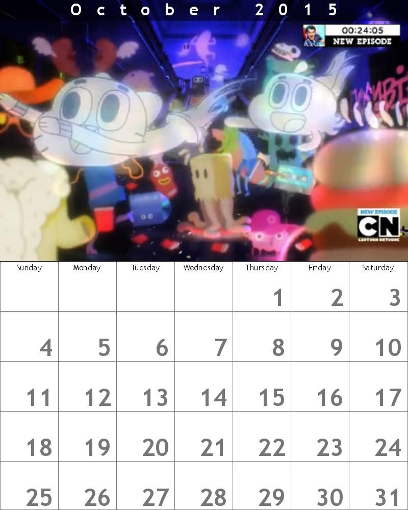 Gumball Calendar 2015 October by HitmonchanMan