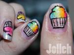 Rainbow Cupcake Nail Art.