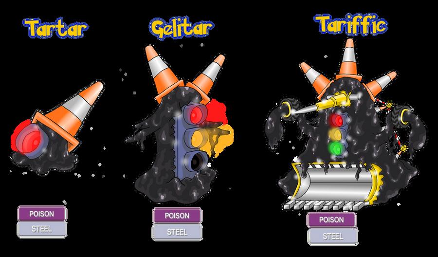 Fakemon - Tartar, Gelitar, Tariffic by Trueform