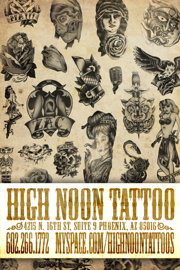 high noon tattoo flyer by recipeforhaight on deviantart. Black Bedroom Furniture Sets. Home Design Ideas