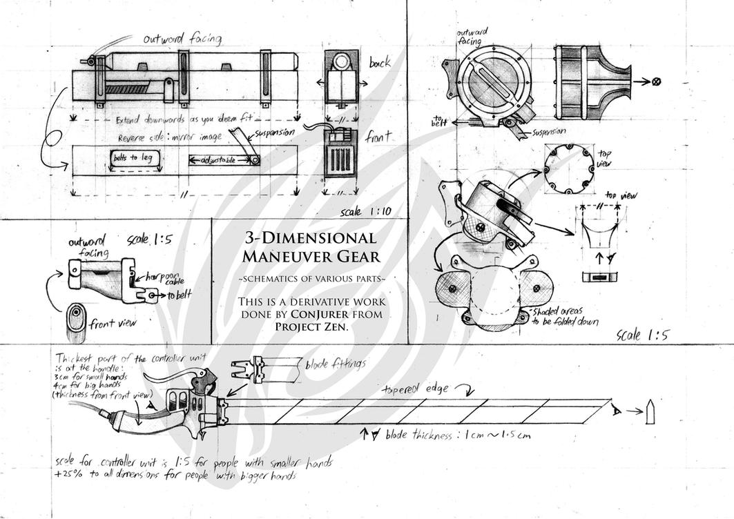 Three dimensional maneuver gear 3dmg schematics by for 3 dimensional drawing software