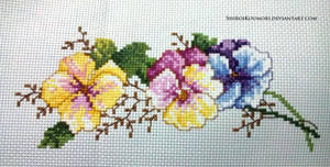 Pansy Parade Cross Stitch by ShiroiKoumori