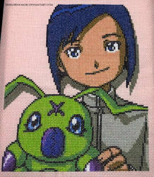 Ken and Wormmon Cross Stitch by ShiroiKoumori