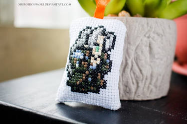 Sephiroth Cross Stitch Bag Tag by ShiroiKoumori
