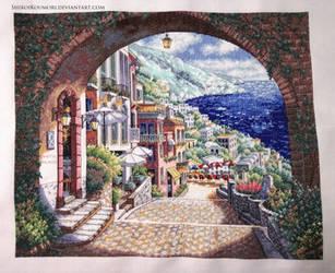 Coastal View Cross Stitch by ShiroiKoumori