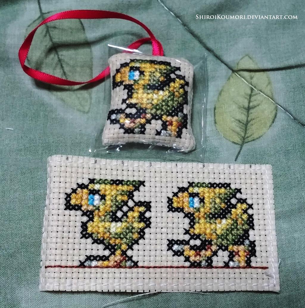 Chocobo Cross Stitch Bag Tag