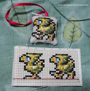 Chocobo Cross Stitch Bag Tag by ShiroiKoumori