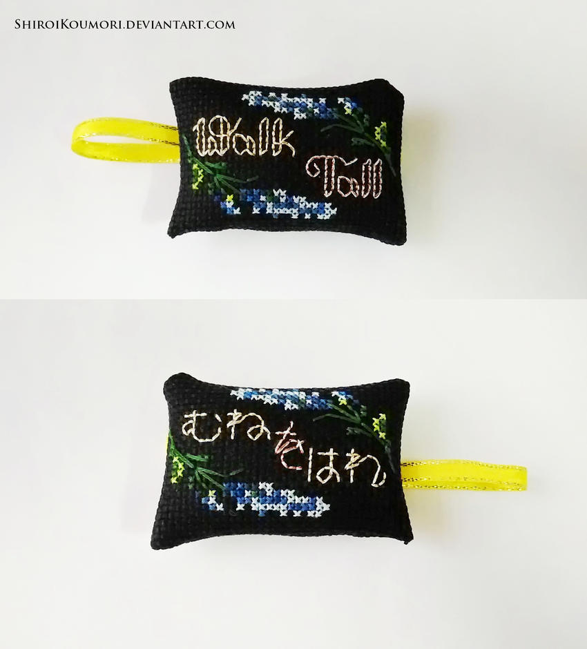 Walk Tall Cross Stitch Bag Tag (FFXV) by ShiroiKoumori